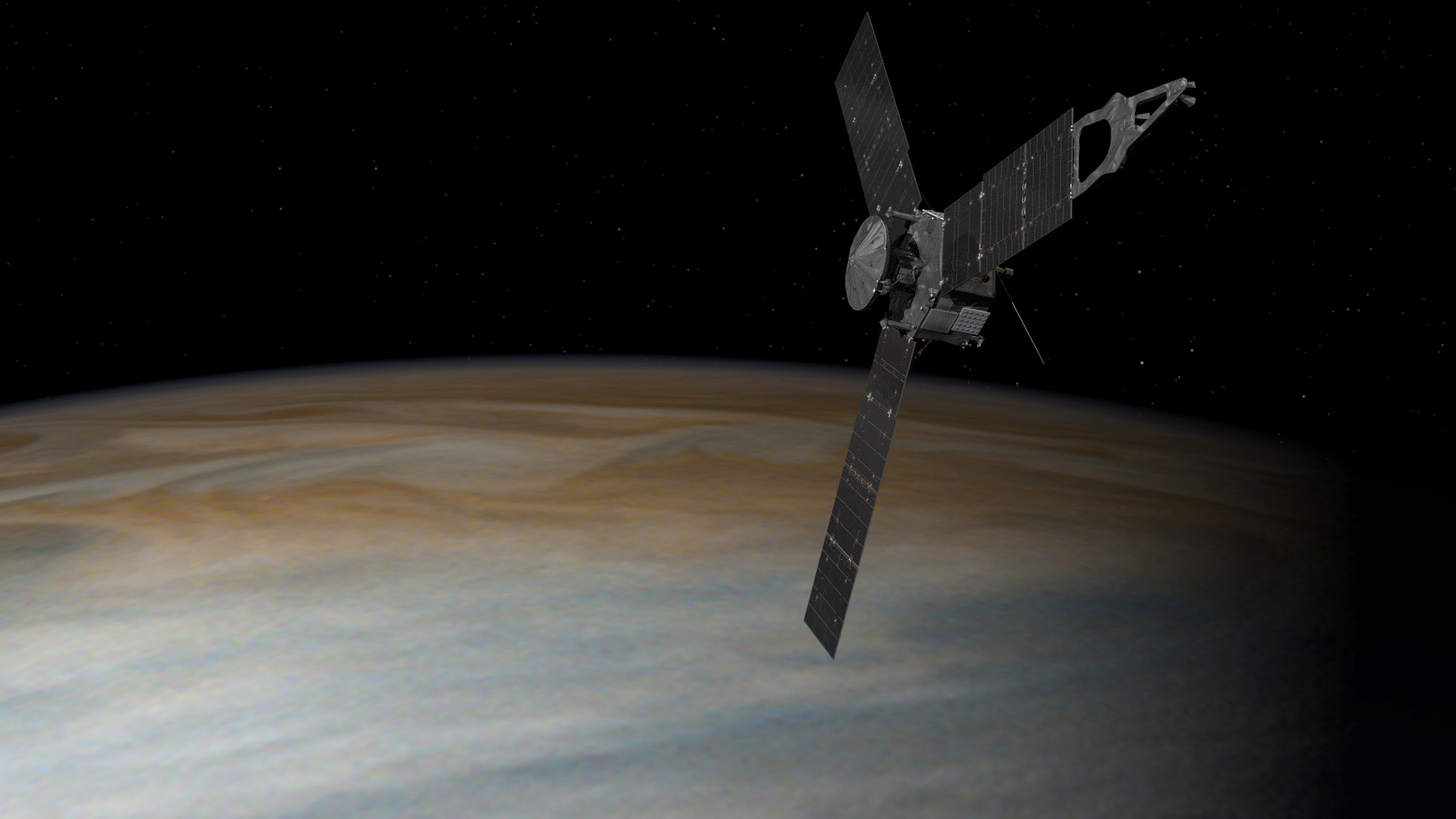 Juno in Orbit Around Jupiter (Illustration)