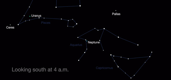 This NASA sky map shows the location of Ceres, Pallas, Uranus and Neptune in the southern night sky at about 4 a.m. your local time in August 2016.