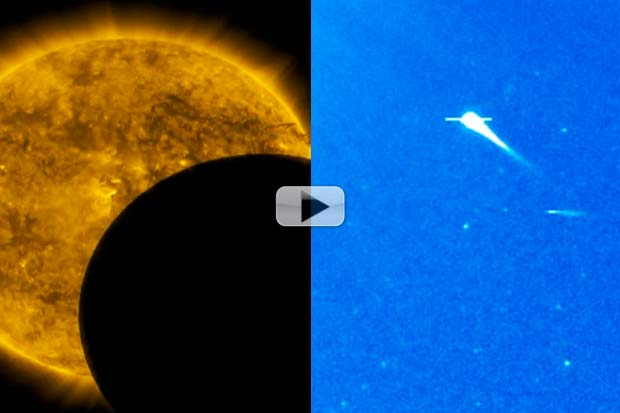Sun Observatories Capture Moon and Comet On Consecutive Days | Video