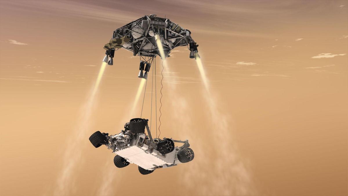 Curiosity's Sky Crane Mars Landing