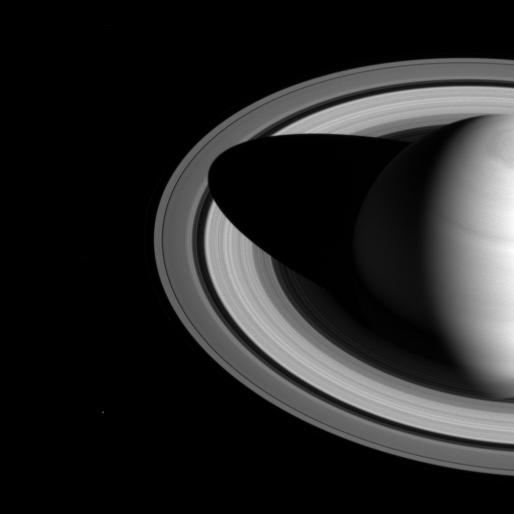 Saturn Casts Shrinking Shadow Over Rings in NASA Photo