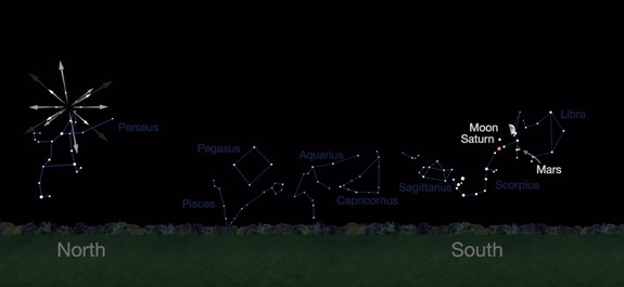 Mars, Saturn and a moon will gleam alongside a rise of a Perseid meteor showering on Aug. 11 and 12, 2016. See where a contingent will be in this NASA sky map.