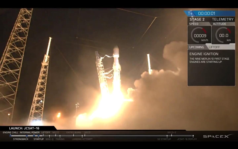 JCSAT-16 Launches, Aug. 14, 2016