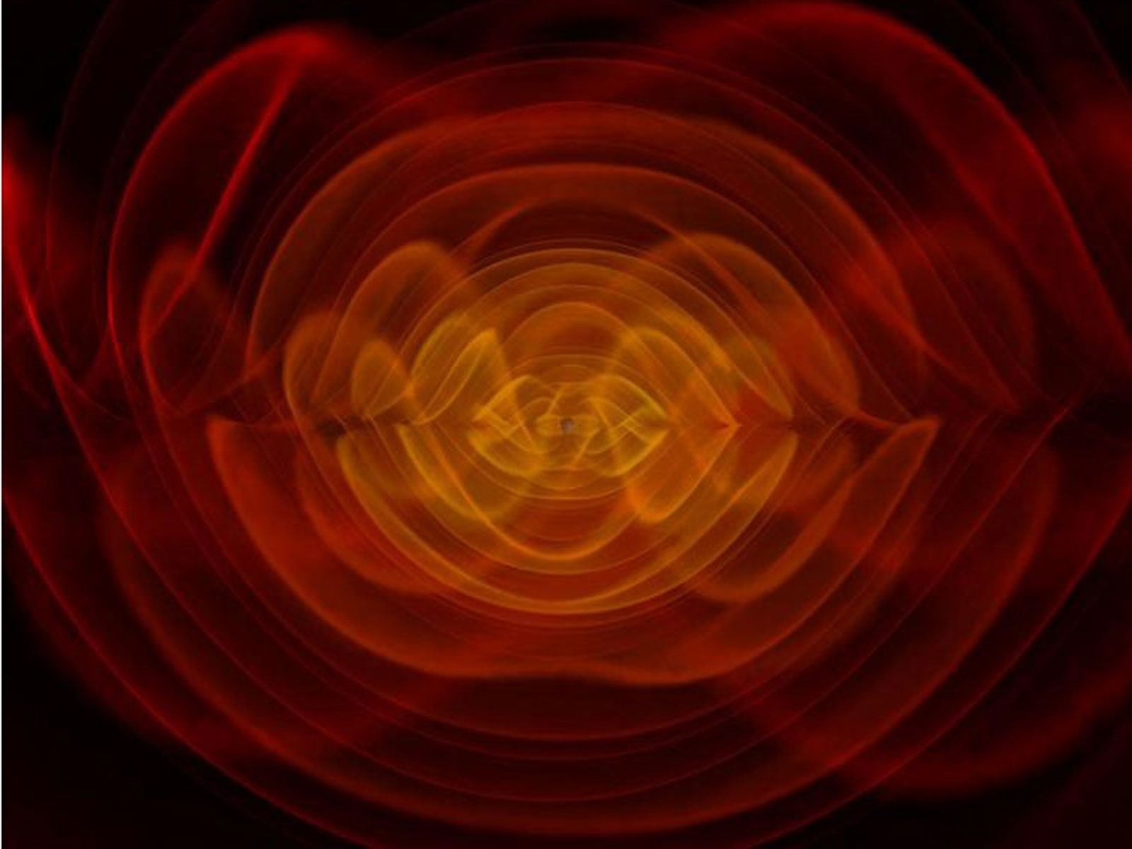 This is a visualization of gravitational waves, ripples in space-time predicted by Albert Einstein. This image appears on the cover of the National Academies Astro2010 Decadal Survey midterm report