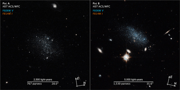 This scale-compass image comparison of Pisces A and B shows the two dwarf galaxies nearing the Local Group.