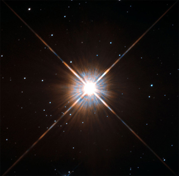 Hubble Space Telescope image of the red dwarf Proxima Centauri, which lies just 4.25 light-years from the sun.