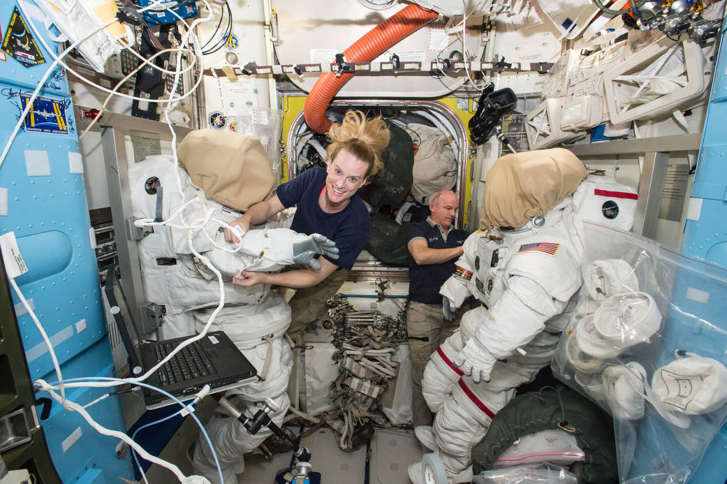 Astronauts Prepare for Spacewalk