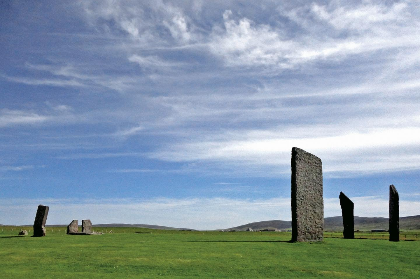 The great stone circle Stenness, in Orkney, Scotland