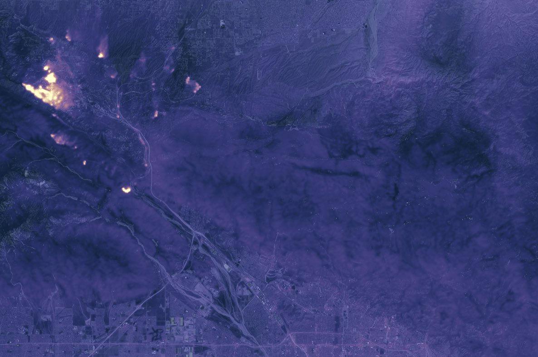 California's Blue Cut Wildfire Glows in Nighttime Satellite Photo