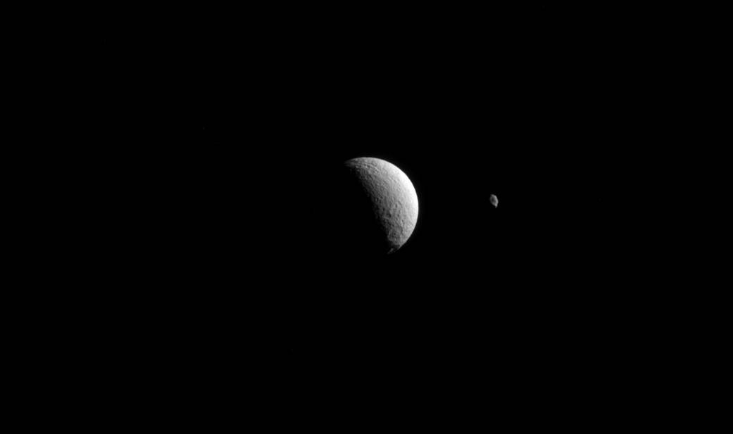 Saturn's moons Tethys and Hyperion
