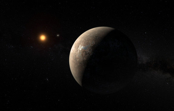 This artist's impression shows the exoplanet Proxima b, which orbits the red dwarf star Proxima Centauri. The double star Alpha Centauri AB appears in the image between the exoplanet and its star.