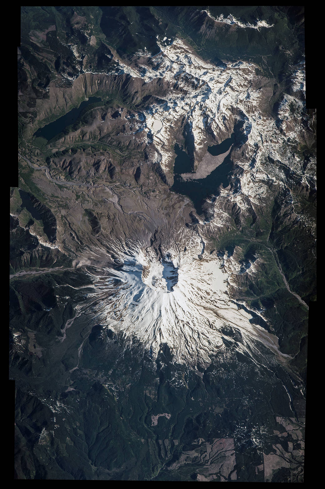 NASA astronaut Jeff Williams, commander of Expedition 48, took this photo of Mount St. Helens National Volcanic Monument from his vantage point aboard the International Space Station.