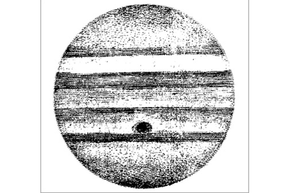 A sketch of Jupiter (with stripes) by Giovanni Cassini around 1667.