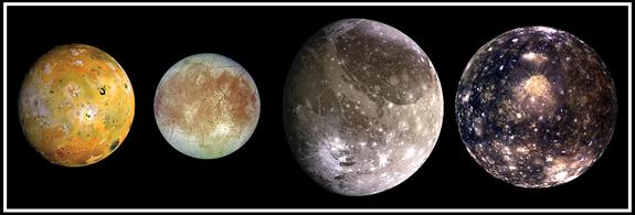 The 4 Galilean moons, in sequence of augmenting stretch from Jupiter: Io, Europa, Ganymede and Callisto.
