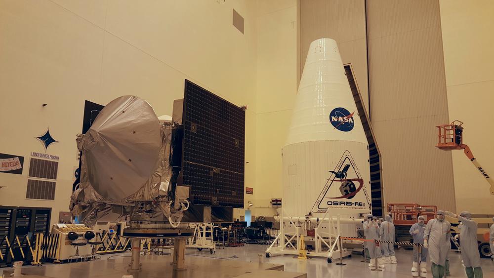 OSIRIS-REx spacecraft and fairing