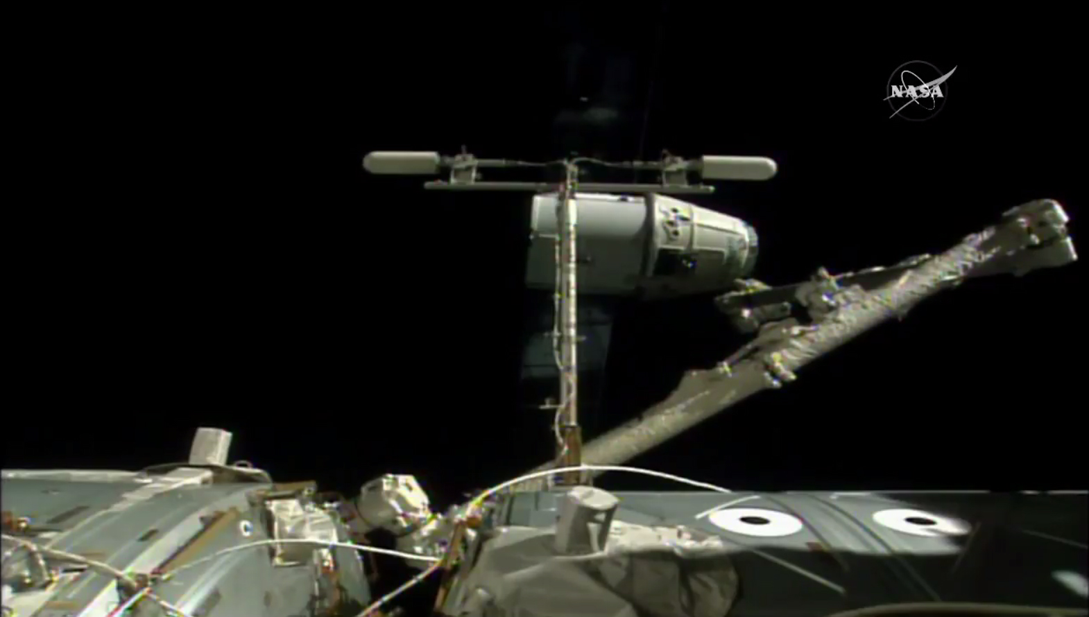 An unmanned SpaceX Dragon cargo ship is released back into space by a robotic arm on the International Space Station on Aug. 26, 2016. The Dragon will return 3,000 lbs. (1,360 kilograms) of science gear to Earth.