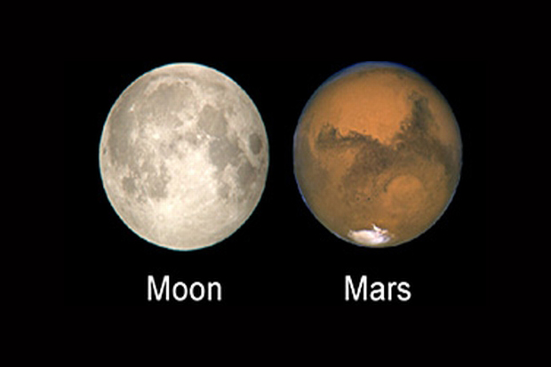 A labeled moon next to Mars; roughly the same size and level of detail.
