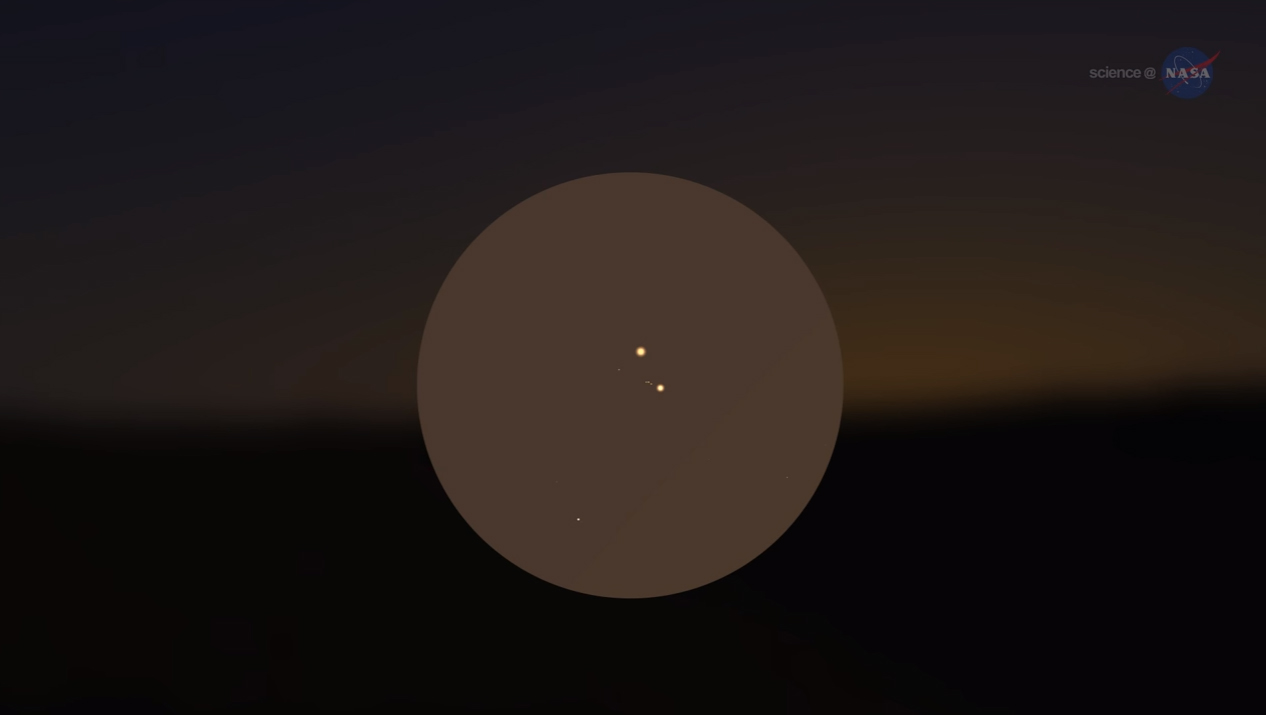 A preview of Venus and Jupiter during an extremely close encounter, which will take place just after sunset on Aug. 27, 2016.