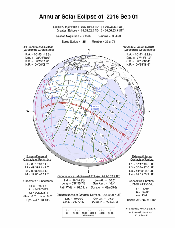 This NASA chart shows the path of the Sept. 1, 2016 annular solar eclipse across parts of Africa.