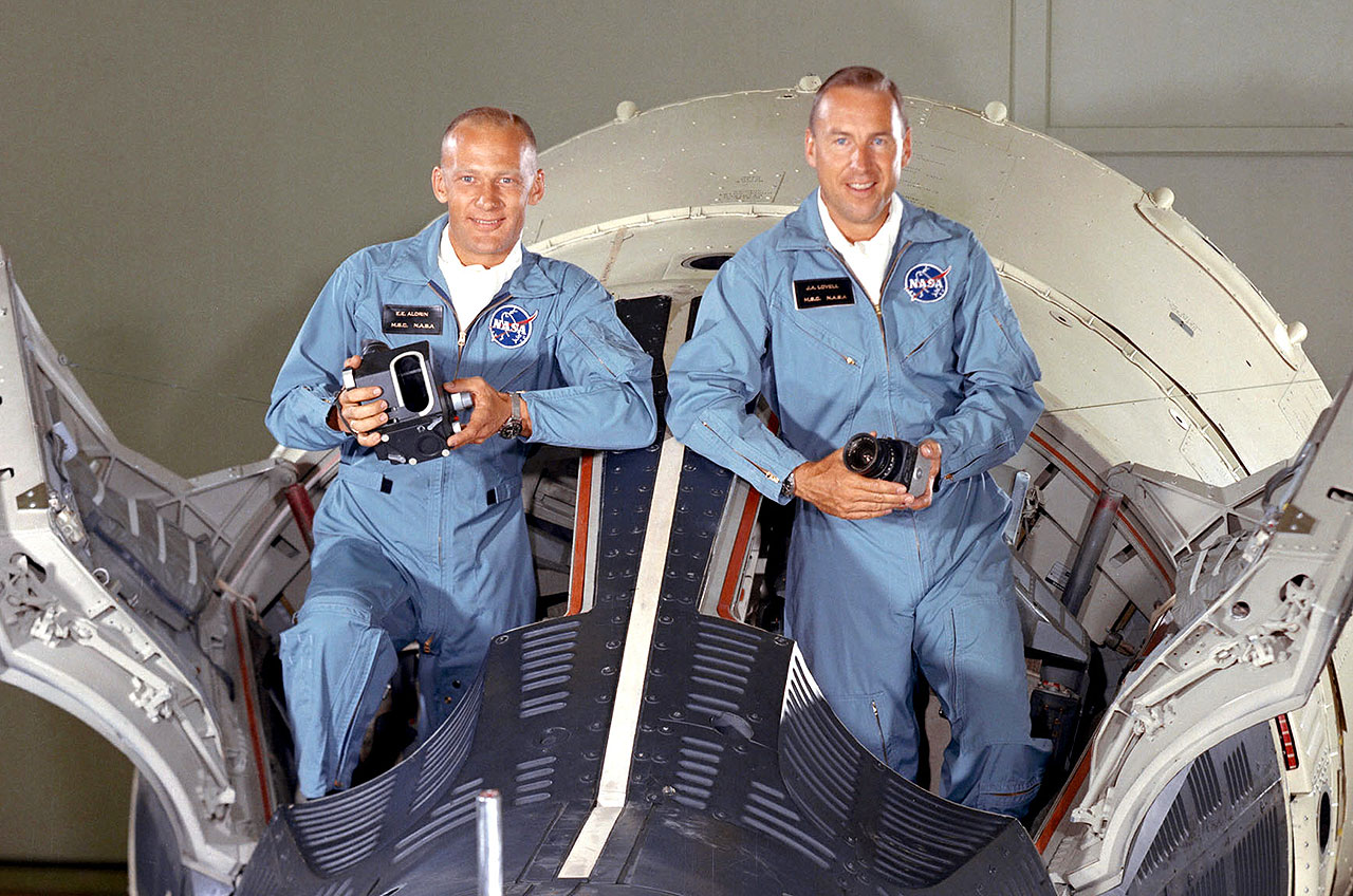 Buzz Aldrin and Jim Lovell with Gemini 12