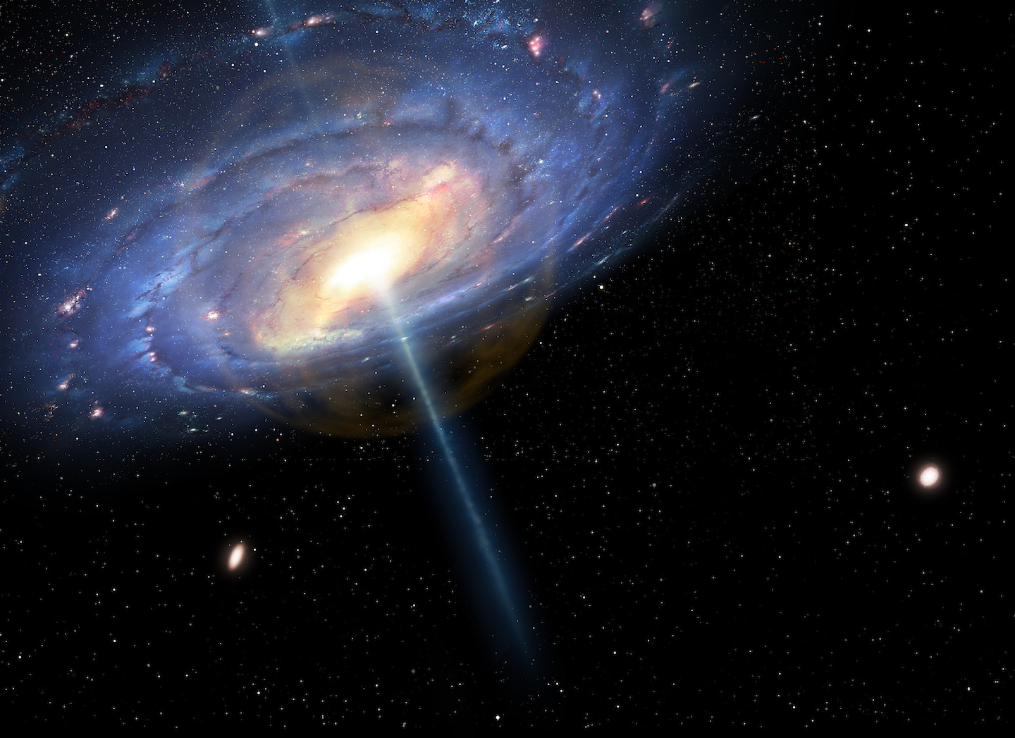 """This is an artist's impression of the exploding quasar at the center of the Milky Way 6 million years ago. The wisps of orange at the center represent the gasless """"bubble"""" that would have formed following the event."""