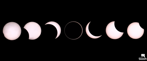 Annular solar eclipse of Sept. 1, 2016, as seen from Reunion Island, east of Madagascar.