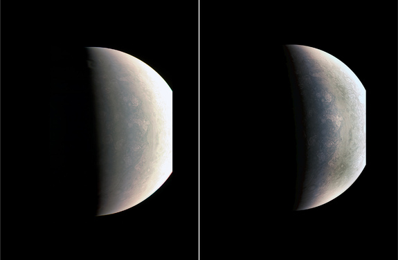 This view of Jupiter's north pole — captured by NASA's Juno probe on Aug. 27, 2016, from a distance of 48,000 miles (78,000 kilometers) — shows storms and weather systems unlike any seen elsewhere in the solar system.