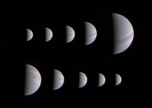 Estas 10 imagens mostram Jupiter crescendo e diminuindo de tamanho aparente antes e depois da sonda Juno da NASA fez a sua abordagem perto do planeta em 27 de agosto de 2016.