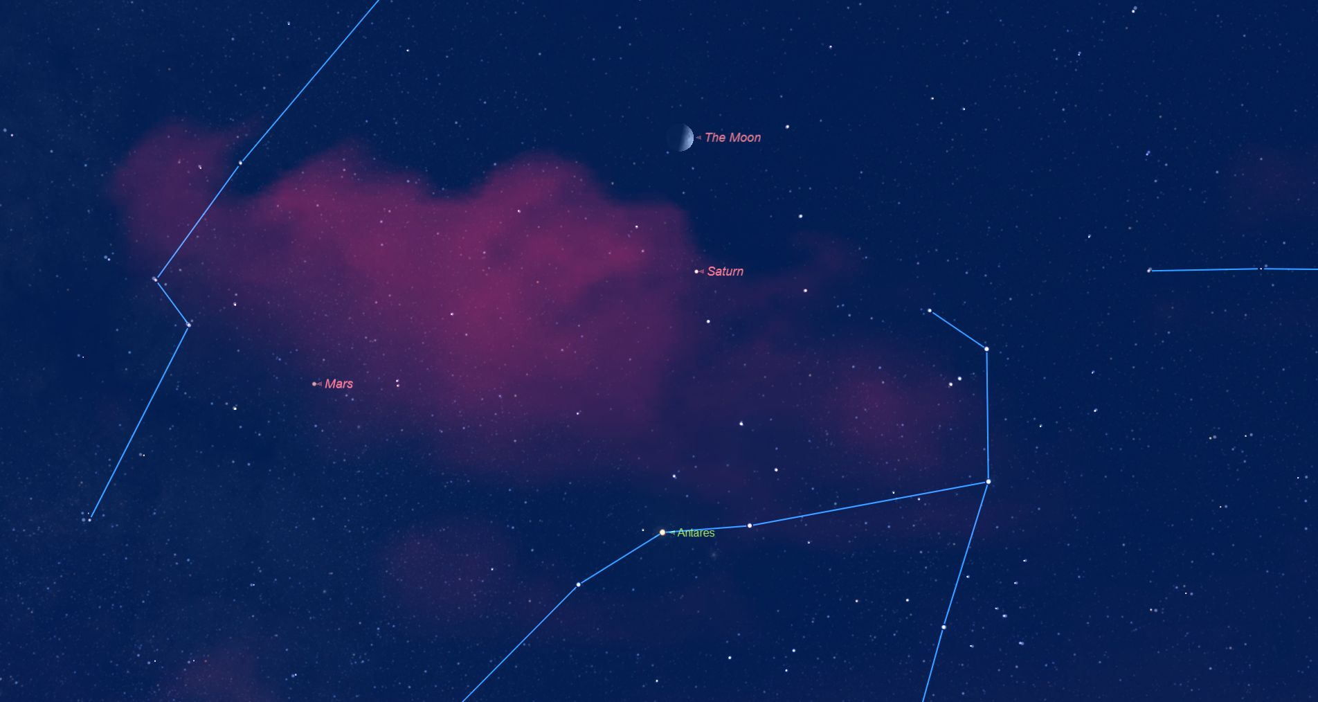 Moon meets Mars Saturn Sept 8 2016 at 2020