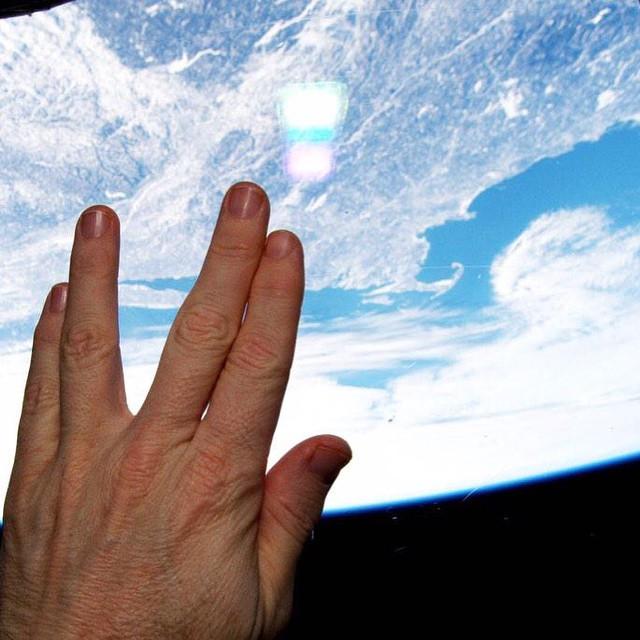 NASA astronaut Terry Virts Vulcan salute