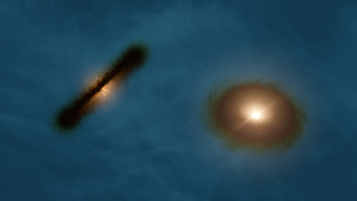 An artist's impression of the binary star system HK Tau shows the stars' misaligned disks. Measuring the orientation of the stars in multiple-star systems like this one could help astronomers learn how the stars came together.