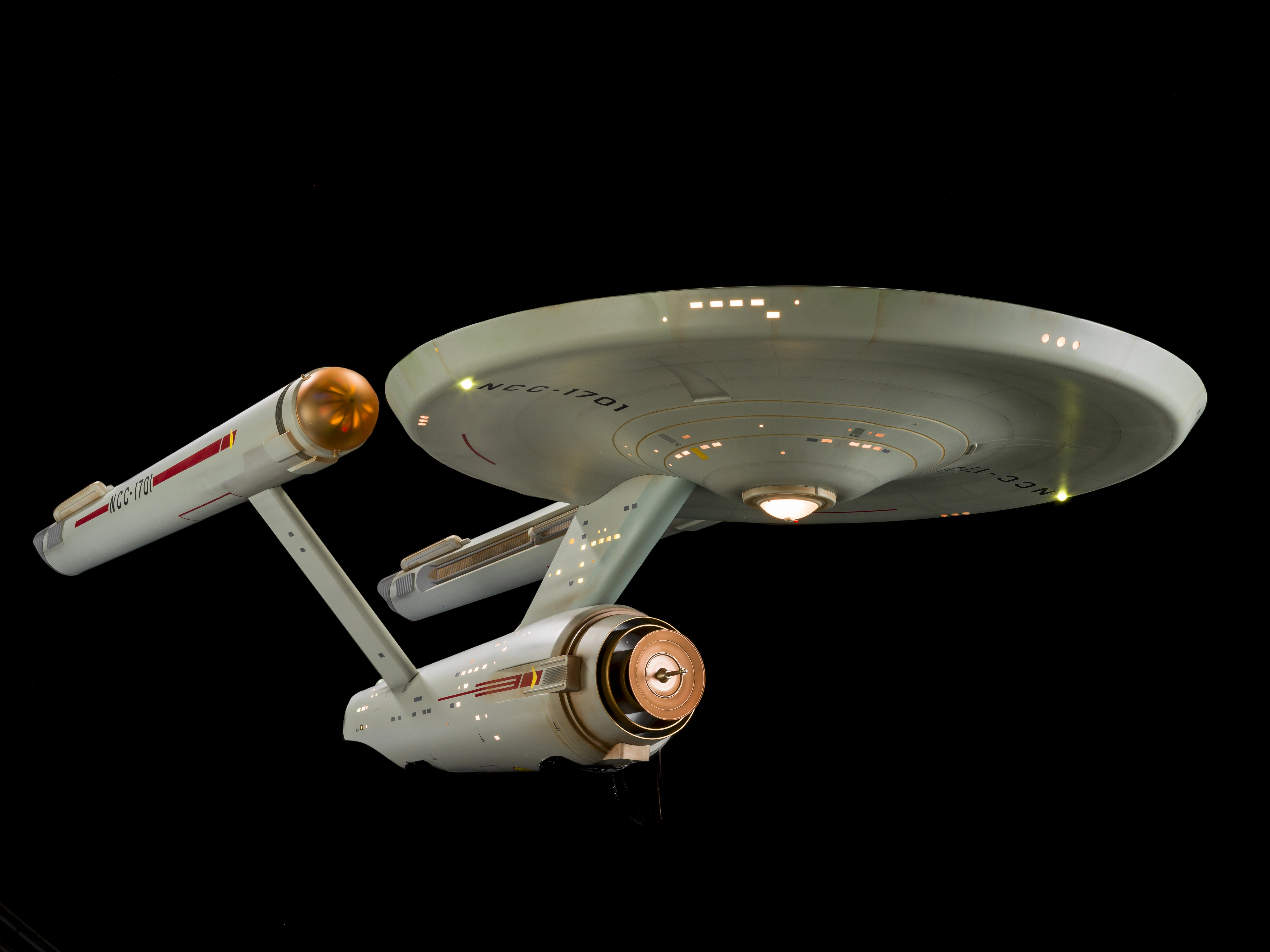 """The iconic science fiction TV series """"Star Trek"""" first aired on Sept. 8, 1966 and celebrates its 50th anniversary in 2016. The show chronicled the voyages of the starship USS Enterprise. The studio model of the ship (shown here) has been fully restored an"""