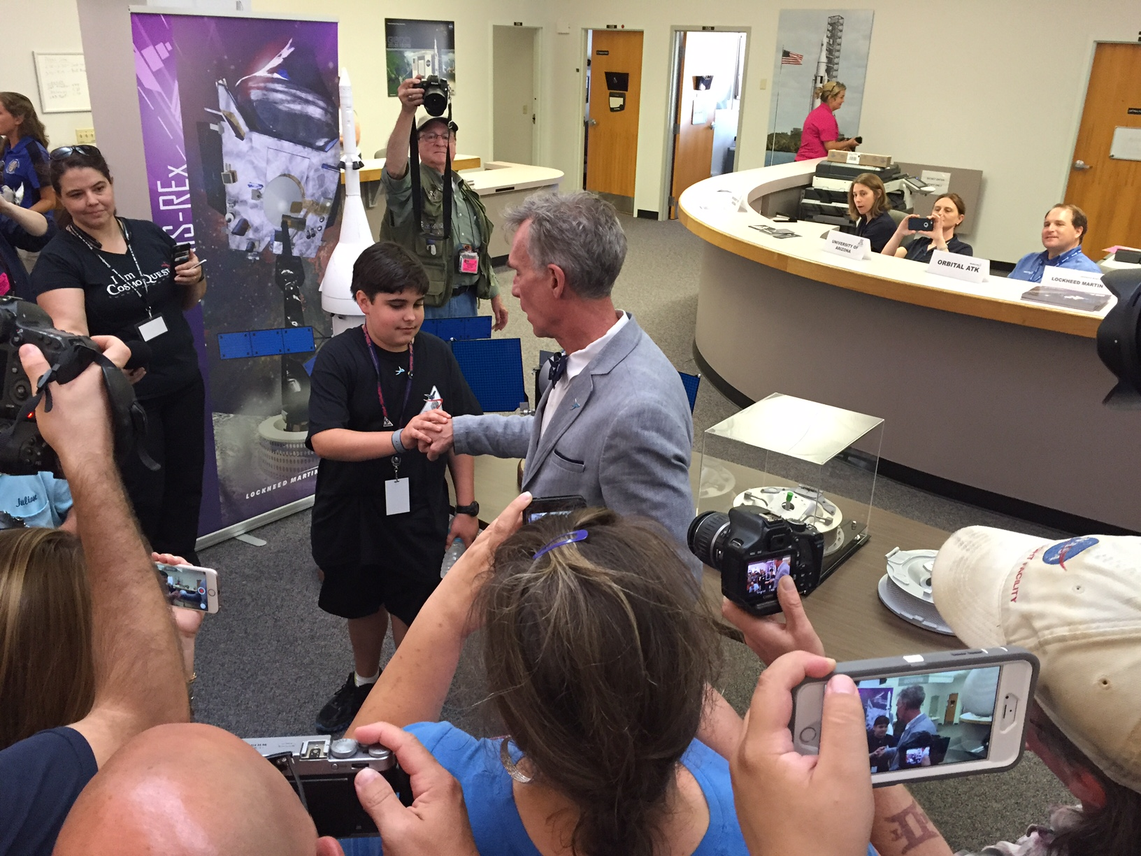 Bill Nye and Mike Puzio Do OSIRIS-REx High-Five