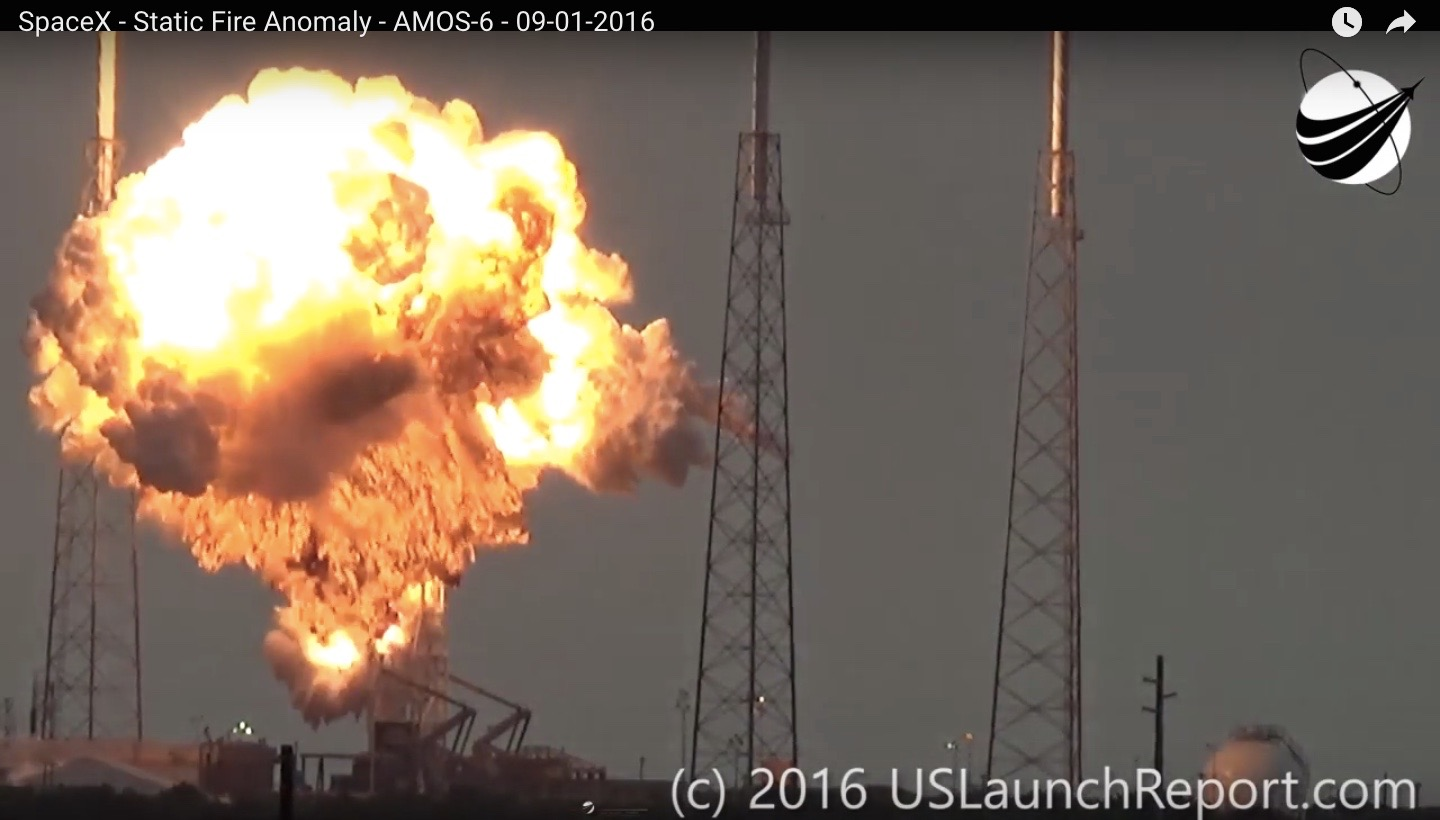 Screenshot of explosion of a SpaceX Falcon 9 rocket on Sept. 1