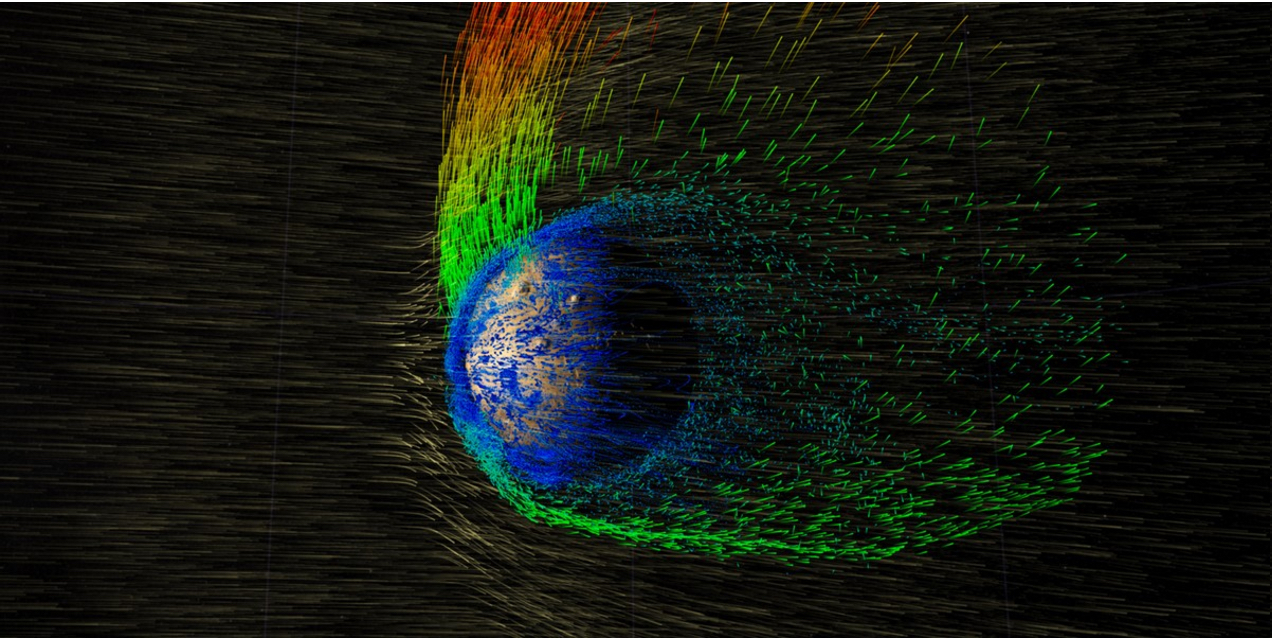 Solar wind stripping Martian atmosphere