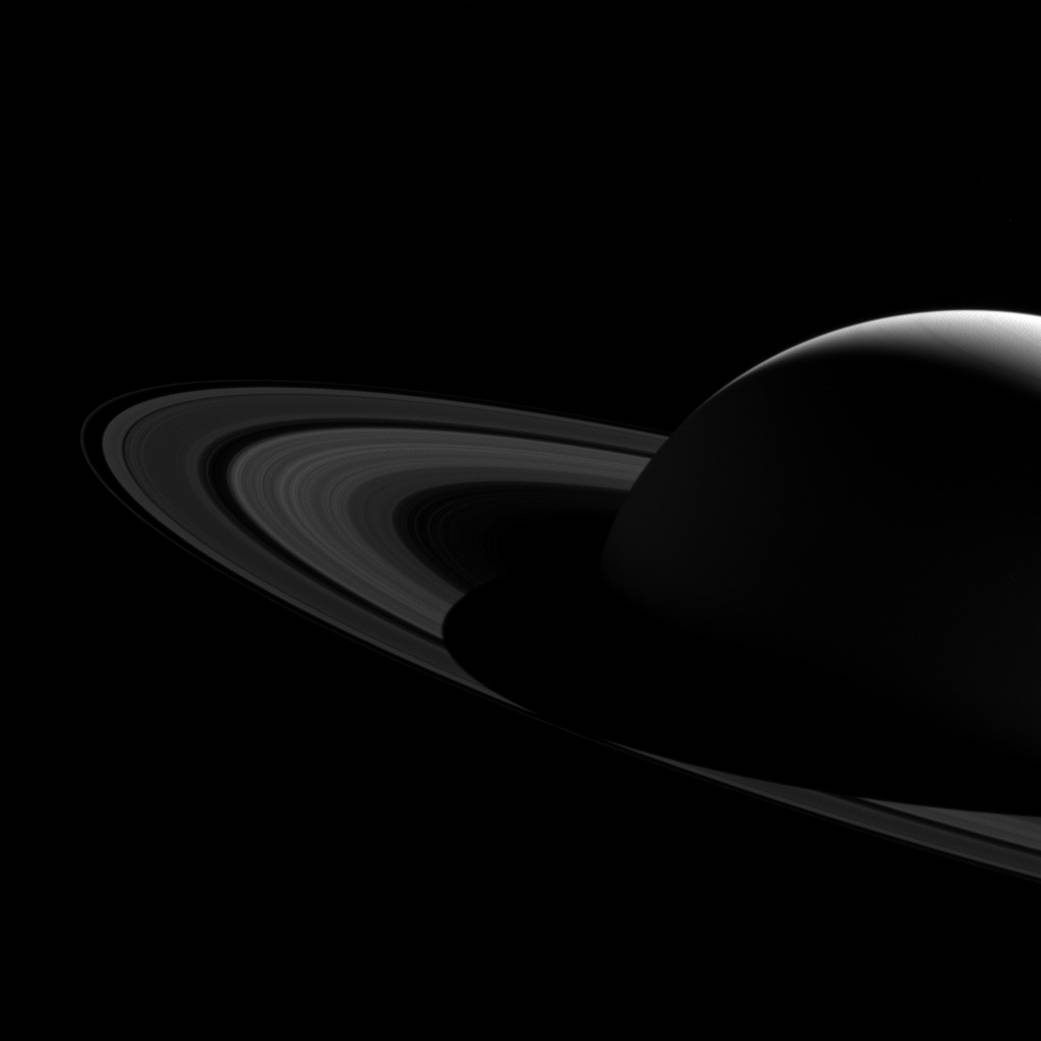 Saturn's Shadow Bisects Rings