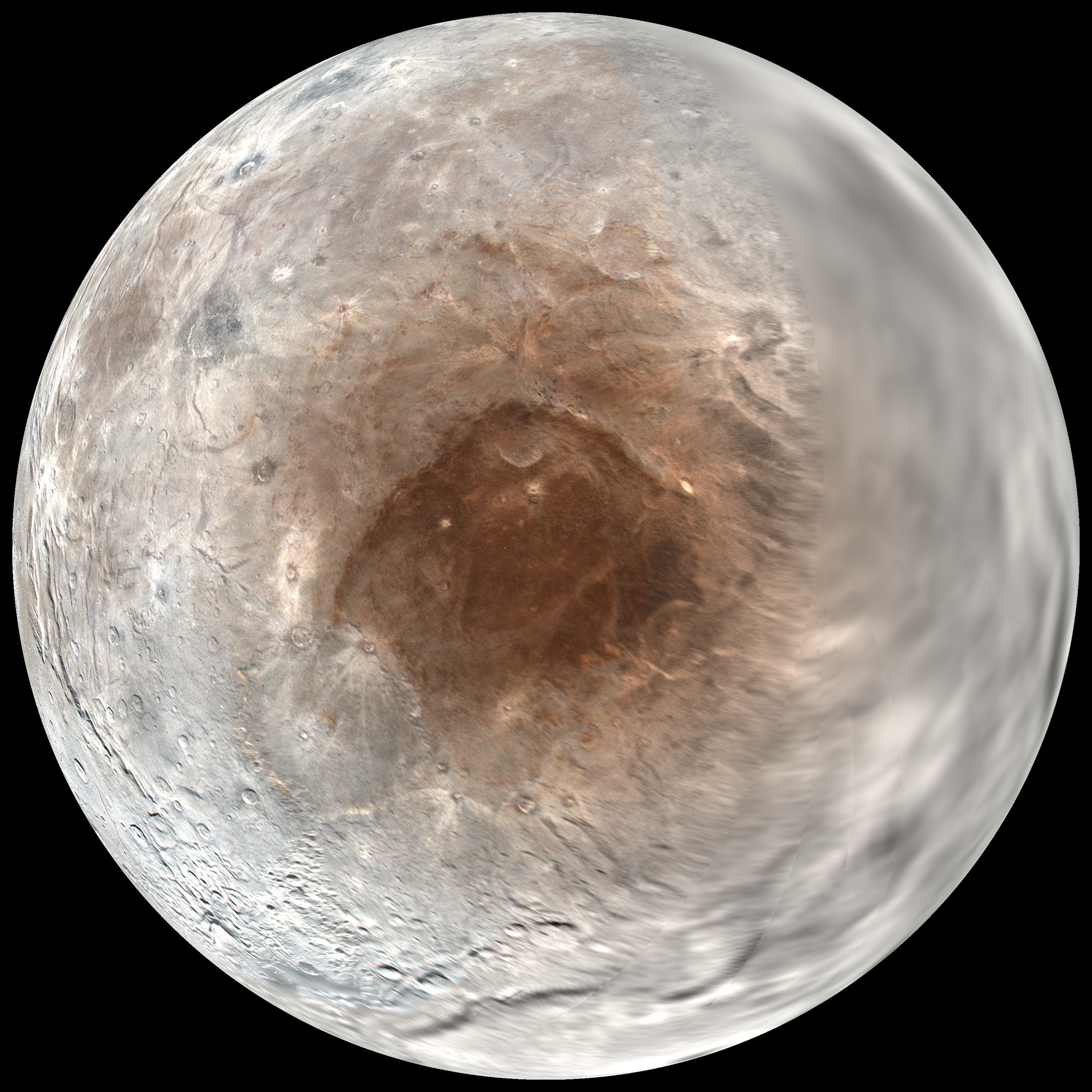 Pluto's largest moon Charon has a red spot at its north pole that may be caused by the atmosphere of Pluto, scientists announced on Sept. 14, 2016.