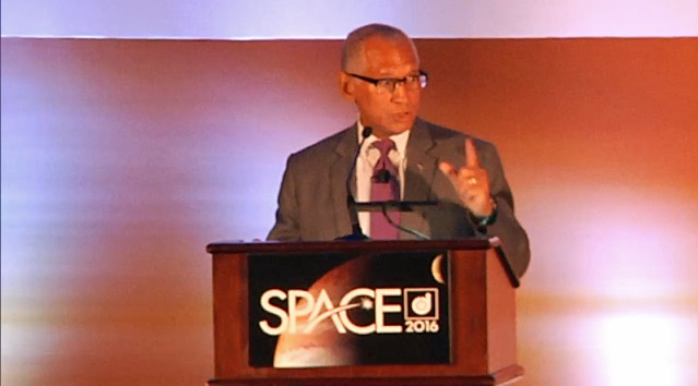 NASA Administrator Charles Bolden spoke on the need for international cooperation for space exploration at the 2016 AIAA Space and Astronautics Forum and Exposition in Long Beach, California on Sept. 13, 2016.