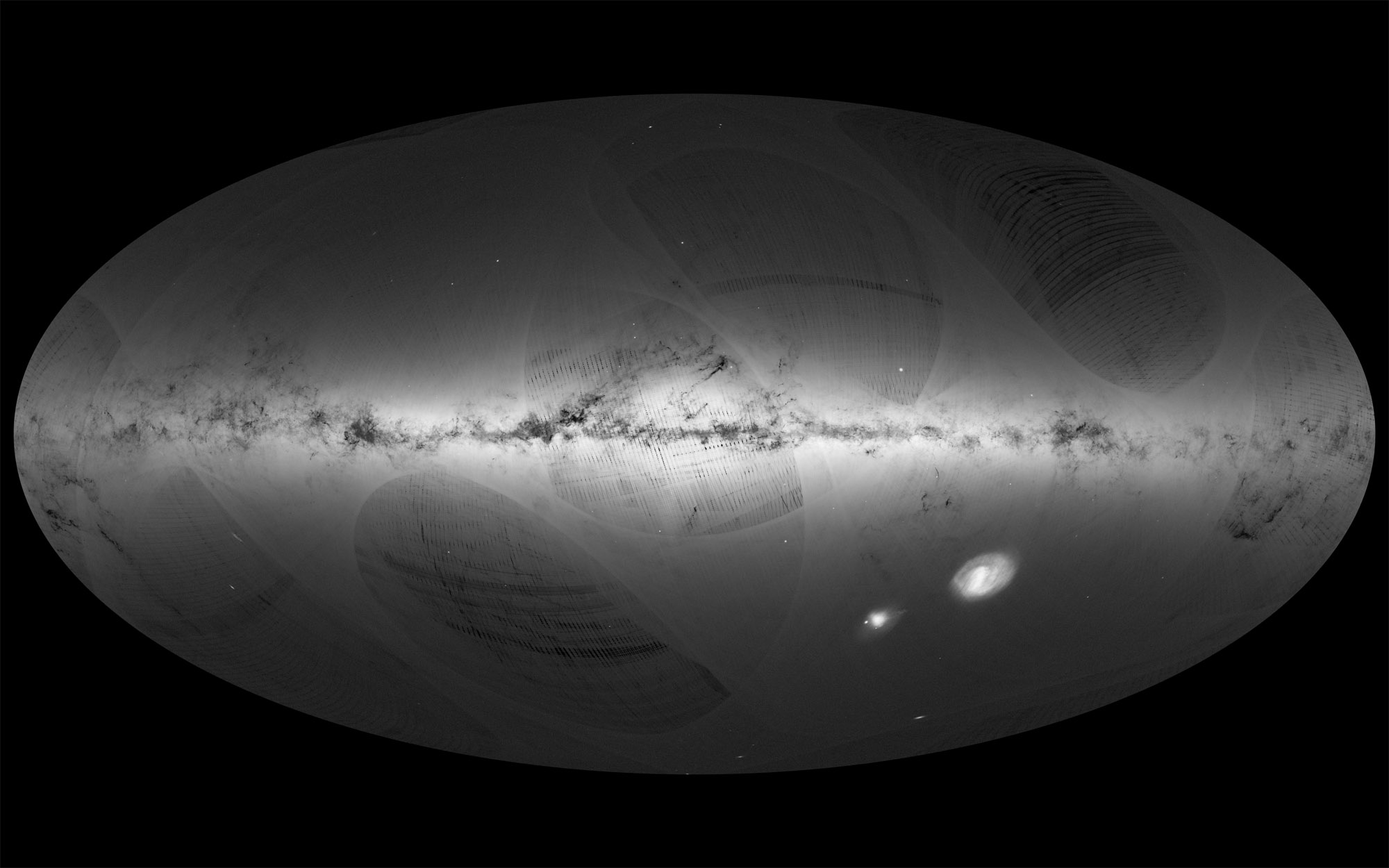 This all-sky view of the stars in our Milky Way galaxy, as well as neighboring galaxies, take center stage in this sky map by the European Space Agency's Gaia satellite during its first year of operation.