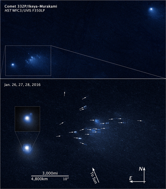 Hubble sees a comet breaking up