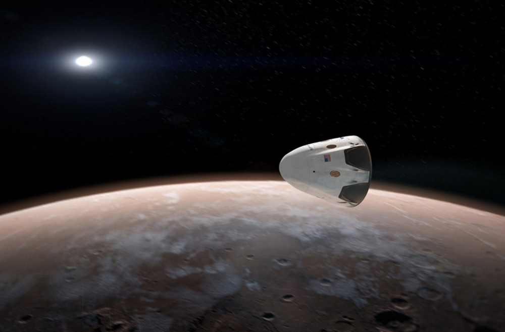SpaceX's Dragon orbiting Mars