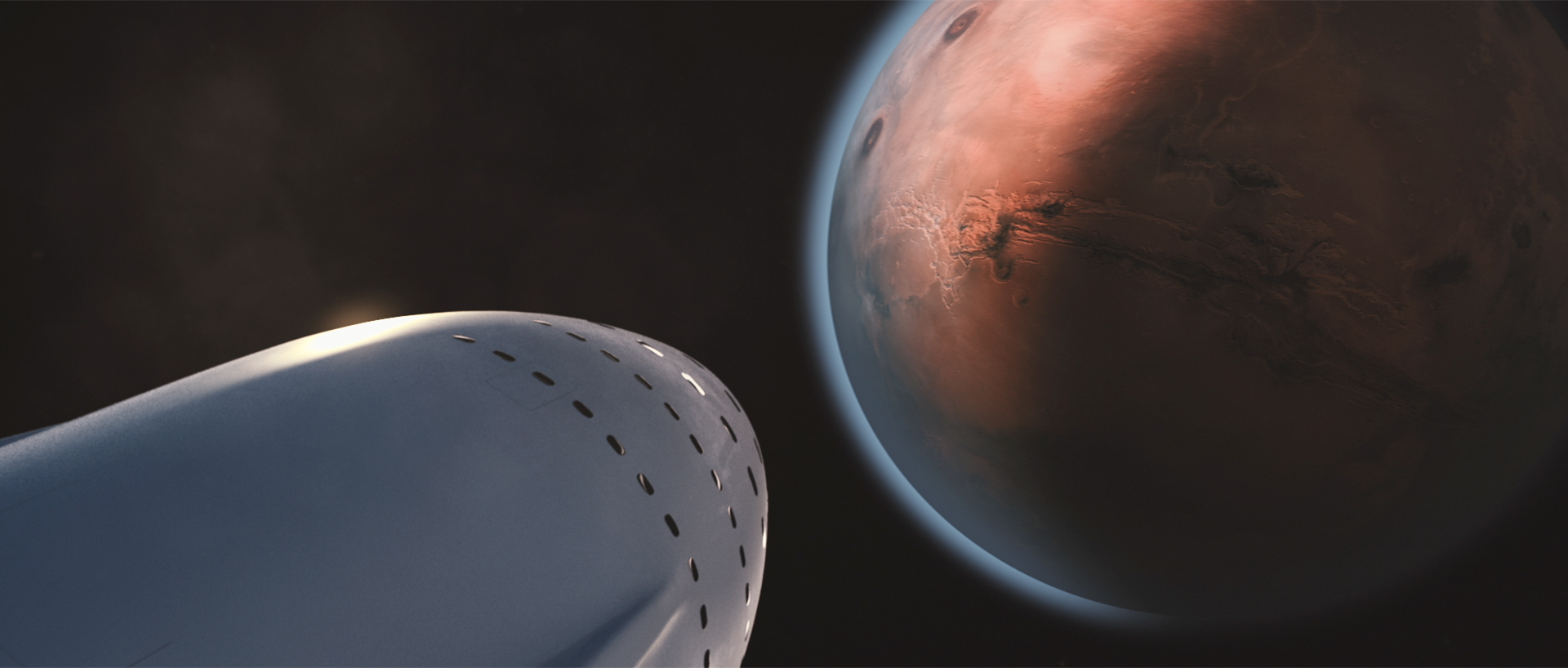 An artist's illustration of SpaceX's interplanetary spaceship arriving at Mars. SpaceX envisions flying 100 people to Mars on reusable colony ships.