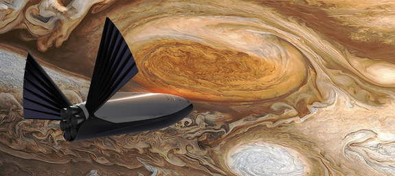 A SpaceX Interplanetary Transport System spaceship sails nearby Jupiter in this artist's judgment of a deep-space crewed spacecraft.