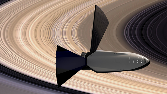 A SpaceX Interplanetary Transport System spaceship explores a rings of Saturn in this artist's judgment of a vehicle's intensity to send astronauts over Mars.