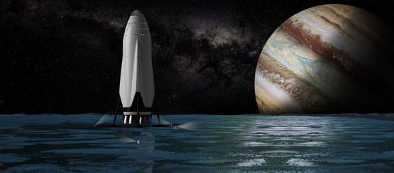 Artist's judgment of SpaceX's Interplanetary Transport System spaceship on Jupiter's ocean-harboring moon Europa.
