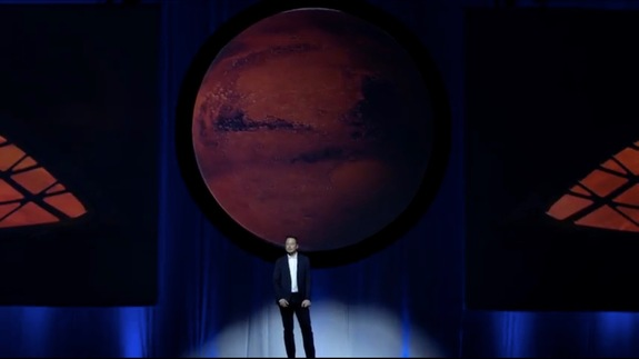 Elon Musk, owner and CEO of SpaceX, summarized a company's skeleton to inhabit Mars, vocalization during a International Astronautical Congress assembly in Guadalajara, Mexico, on Sept. 27, 2016. Image taken from a SpaceX webcast of a event.