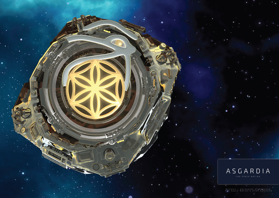 This illustration of a futuristic-looking satellite orbiting the Earth is on the website for the Asgardia project, a mission to create a space-based country.
