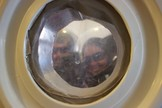 Anushree Srivastava and Jon Clarke wait in the Decompression Room as part of the Mars 160 mission.