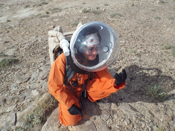 Annalea Beattie of the Mars 160 Twin Desert-Arctic Analog mission, during an EVA in Utah.