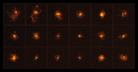 A mosaic of 18 of the 19 quasars observed using the European Southern Observatory's Very Large Telescope. The survey revealed that all 19 quasars had bright halos.